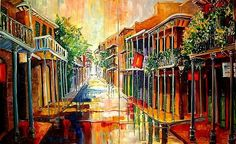 French Quarter | French Quarter Rain - 2 panels- SOLD - by Diane Millsap from New ...