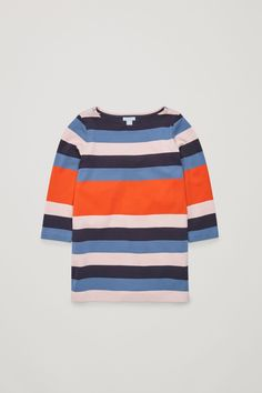 COS image 1 of Striped cotton dress in Orange