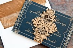 Art Deco wedding invitation suite for Suzie & Tom by Melissa Ginsiorsky