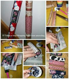 Keep wrapping paper from unrolling using toilet paper tubes.