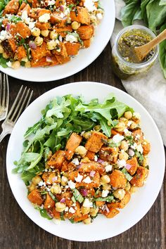 Sweet Potato Chickpea Salad with Pesto Recipe on twopeasandtheirpod.com This simple salad is full of flavor and great served as a side dish or main dish.