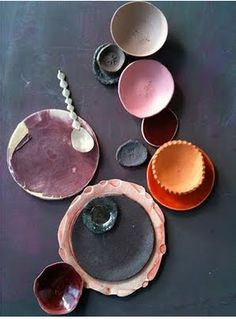 Ceramics by Dietlind Wolf - beautiful textures Ceramic Clay, Ceramic Plates, Ceramic Pottery, Ceramic Studio, Colour Schemes, Color Patterns, Color Combos, Pretty Things, Color Inspiration
