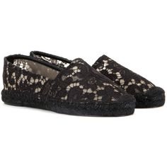 Dolce & Gabbana Lace Espadrilles ($380) ❤ liked on Polyvore featuring shoes, sandals, black, espadrilles, dolce gabbana shoes, black lace shoes, lace shoes, espadrille shoes and black shoes