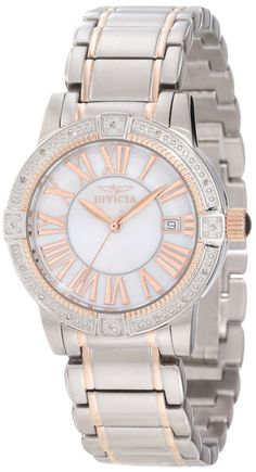 Invicta Women's 13958 Angel White Mother-Of-Pearl Dial Diamond Accented Watch.  Bringing you the best luxury watches online at the most affordable prices for premium brand name watches: http://www.bestwatches1st.com/#!invicta-angel-watch-collection/kb04e