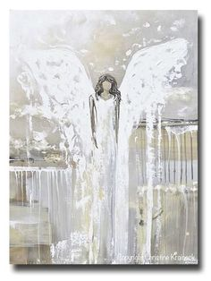"""Always with You"" Canvas art print abstract angel painting palette knife spiritual art white grey cream gold taupe farmhouse coastal home decor modern wall art Canvas Art Prints, Canvas Wall Art, Blue Canvas, Angel Artwork, Angel Paintings, Christian Paintings, Wall Art Decor, Fine Art, Decoration"