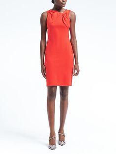 Bow-Neck Ponte Sheath Dress