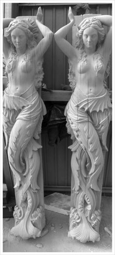 I would love these mermaid statues outside my home. Statues, Art Magique, Ship Figurehead, Urbane Kunst, Water Nymphs, Mermaid Tale, Mermaids And Mermen, Pretty Mermaids, Merman