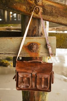 Large Hand Made, Distressed Brown Leather Brief Case, Satchel, Bag with Shoulder Strap and pockets