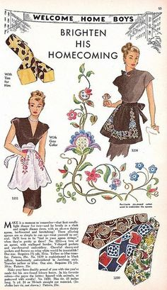 """""""Brighten His Homecoming"""" ~ WWII era 'Welcome Home Boys' apron pattern."""