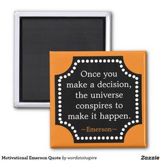 Motivational Emerson Quote 2 Inch Square Magnet