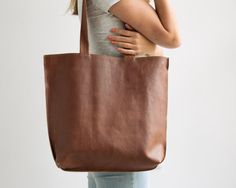 Mayko Basic | Leather Tote l Cinnamon leather  * Italian leather * Stylist Design * Different Colors / 3 Color options / see options at last photo *