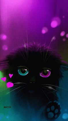 38 ideas cats art love for 2019 I Love Cats, Crazy Cats, Cool Cats, Photo Animaliere, Image Chat, Black Cat Art, Cute Animal Drawings, Cat Wallpaper, Anime Animals