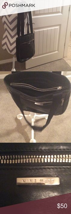 Nine West. 11x11. Bag black leather  double strap Has a zipper pocket on outside of bag 3 compartments on top of bag. Zipper. Pocket in middle of bag.  It's new nine west  Bags Shoulder Bags