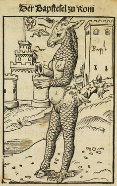 """Lucas Cranach, """"The Donkey-Pope of Rome"""" (1523"""