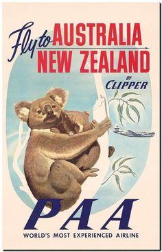 #vintage illustrated #travel poster canvas print australia koala clipper 18"x12" from $16.77