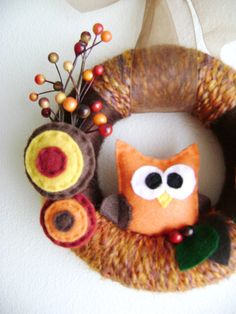 Yarn and Felt Wreath  Autumn Harvest Mini  Made by RedMarionette, $35.00