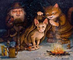 Winter cat paintings. Alexander Maskaev