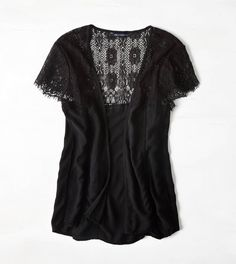 Black short-sleeved cardigan with lace (American Eagle Outfitters)