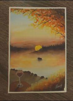 Landscape Drawings, Watercolor Landscape, Landscape Art, Watercolor Paintings, Watercolor Painting Techniques, Watercolor Sketchbook, Watercolour Tutorials, Art Night, Sunset Art
