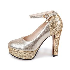 74161bcd Women's Shoes PU(Polyurethane) Spring / Summer Heels Chunky Heel Round Toe  Crystal / Sequin / Buckle Gold / Silver / Wedding. Zapatos Plateados ...