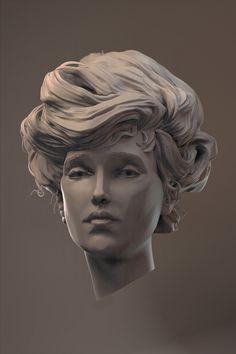 A Charles Dana Gibson study in Zbrush & Modo Zbrush Hair, Sculpture Head, Digital Sculpting, Modelos 3d, Gibson Girl, Wow Art, Woman Face, Character Art, Portraits