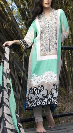Buy Turquoise Embroidered Cotton Lawn Dress by Firdous Carnival Collection 2015.
