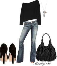 Off the shoulder top, distressed jeans, heels...signature outfit