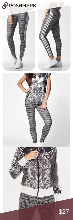 """NWT adidas leggings A heart-and-feather pattern inspired by Brazil takes over these sporty leggings.   Created collaboration with Brazilian design firm, The Farm Company. 94% polyester/6% spandex. 30"""" inseam. Imported. Adidas Pants Leggings"""