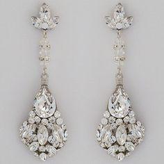 Erin Cole Bridal Earrings | Large Teardrop Chandelier Earrings