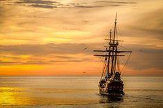 Sonnenuntergang, Boot Meer, Schiff