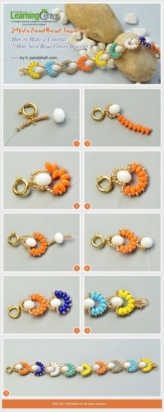Beaded Jewelry Seed Bead Jewelry - How to Make a Colorful Seed Bead Flower Bracelet Beaded Bracelet Patterns, Beaded Earrings, Beading Patterns, Beaded Necklaces, Jewelry Crafts, Handmade Jewelry, Seed Bead Jewelry Tutorials, Jewelry Kits, Jewelry Supplies