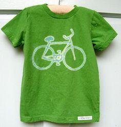 green bicycle kids shirt bleach art