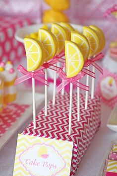 Sweet Summertime Pink Lemonade Birthday Party // Hostess with the Mostess® A Lemonade Birthday Party with lemon wedge cake pops, mason jar cupcakes, daffodils & carnations, gummy lemon candy skewers + gingham, polka dots & stripes Birthday Brunch, Birthday Parties, Cake Birthday, Birthday Ideas, Mason Jar Cupcakes, Pink Cake Pops, Pink Lemonade Party, Pink Lemonade Baby Shower Ideas, Lemon Party