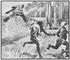 A famous collected Aboriginal tale about some hunters that took a baby Bunyip away from its mother.