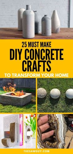 concrete diy projects Concrete is a versatile material and DIY concrete craft projects are taking the home decor industry by storm. Check out our list of 25 must-make DIY concrete crafts for inspiration to transform your home. Have fun! Concrete Crafts, Concrete Cement, Concrete Garden, Concrete Design, Decorative Concrete, Diy Concrete Mold, Tire Garden, Concrete Casting, Diy Concrete Planters