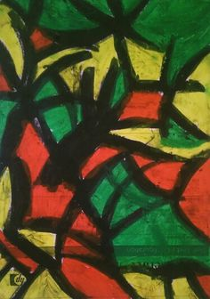 Zosia 6, pastel graphic on paper #red #green #yellow