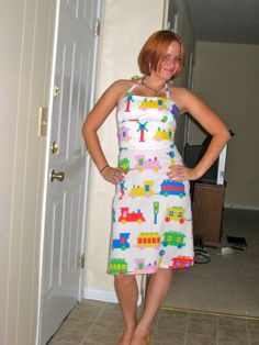 Dress made from a child's bed sheet, What a talented cousin, that I have!  And to think... we are both Karen's!
