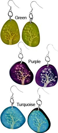 Tree of Life Etched Tagua Earrings at The Rainforest Site