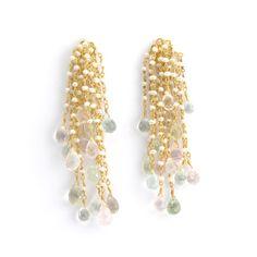 Waterfall Earrings Pearl and Aquamarine