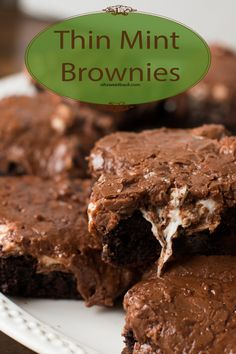Thin Mint Mississippi Mud Brownies! ohsweetbasil.com