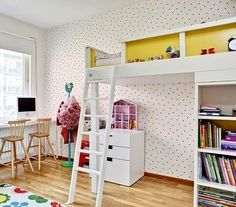 mommo design: 10 FUN LOFT BEDS.  This main pic, I love the storage under the bed, and the window desk with a tall chair.