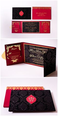 Velvet invitations in red, black and gold. These wedding invitations were designed with a damask pattern and printed with gold foil printing. Luxurious wedding invitations are taken to the next level with custom medallions. Click to read more or pin and s