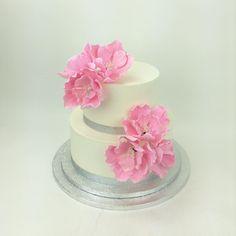 Pink peonies wedding cake #littlesugarshopny #littlesugarshop #weddingcake #buttercream