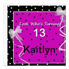 Download free template 13th birthday party invitation wording baby 13th birthday party polka dots custom invite filmwisefo