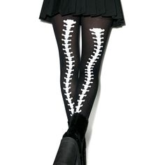 Dem Bones Backseam Tights ($8) ❤ liked on Polyvore featuring intimates, hosiery, tights, opaque pantyhose, back-seam tights, opaque stockings, leg avenue hosiery and leg avenue tights