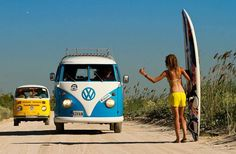 vw bus surfboard hitchhiking