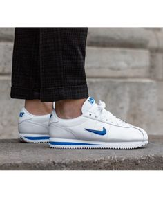 8fb0f2a4fe09 Nike Cortez Basic Jewel 18 White Blue Trainers Nike Cortez Mens