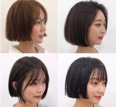 Short Haircuts With Bangs, Short Hair Cuts, Korean Short Hair, Shot Hair Styles, Short Bob Wigs, Hair Setting, Girl Short Hair, Ombre Hair, Hair Looks