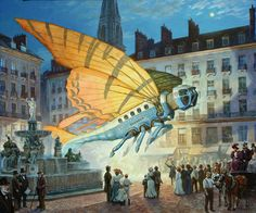 Decollage nocturne, by James Gurney -- it's the Nantes - Dinotopia Ornithopter Express!