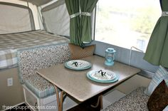 Pop Up Camper Remodel: The Big Reveal! use rustoleum cabinet and countertop transformation kit to updat cabinets, countertops & camping table. Tent Trailer Camping, Pop Up Tent Trailer, Tent Campers, Tent Trailers, Camping Glamping, Camping Tips, Apache Camper, Countertop Transformations, Popup Camper Remodel